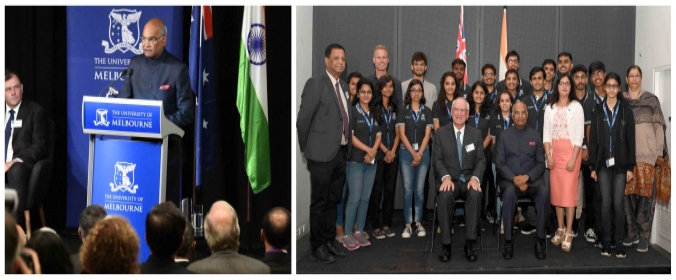Hon. President of India, Shri Ram Nath Kovind addressing students at University of Melbourne during his official visit at Melbourne
