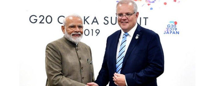 Prime Minister of India Mr. Narendra Modi meets Mr. Scott Morrison, Prime Minister of Australia during G20 summit in Osaka Japan.